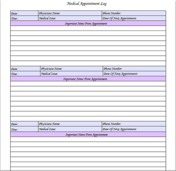 Medical appointment log printable instant by for Appointment log template