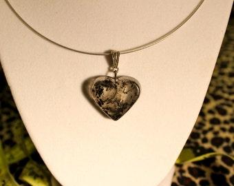 Black Swirl Heart Necklace