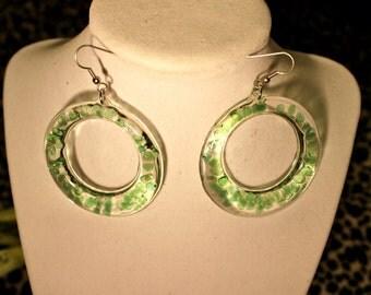 Green Transparent Stone Dangle Earrings