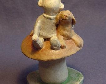 Handmade Ceramic Boy Figurine with his Dog Friend on a Mushroom - Boy's Room, Birthday Gift, Dog figurine, Ceramic  Sculpture,  Ceramic Art