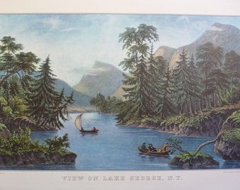View on Lake George NY Vintage Currier and Ives Print 1970s from Original Lithograph