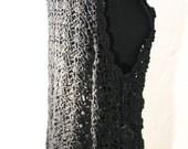 Boho Vintage vest Vintage waistcoat crocheted vest women vest women waistcoat 90s Black vest Floral crochet Vintage hippy vest gipsy vest