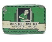 Vintage Metal Tin Household Nail Box 1940s Green Art Deco Tin
