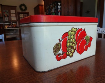 Vintage metal bread box, large, red and white fruit design metal bread box, rustic country kitchen storage,red retro bread box,old fashioned