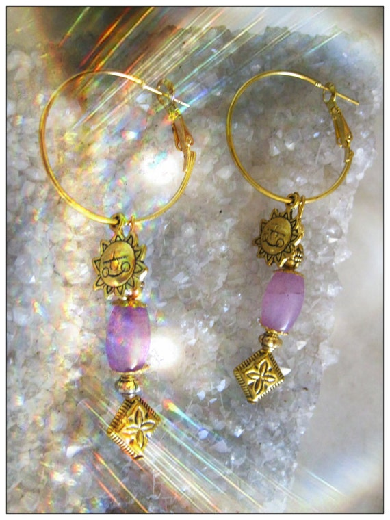 Handmade Gold Hoop Earrings with Amethyst & Sun by IreneDesign2011