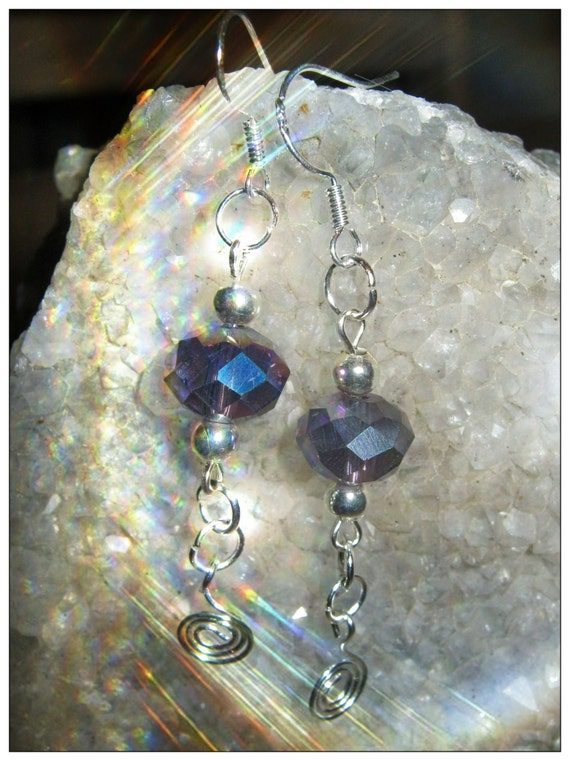 Handmade Silver Hook Earrings with Facetted Crystal by IreneDesign2011