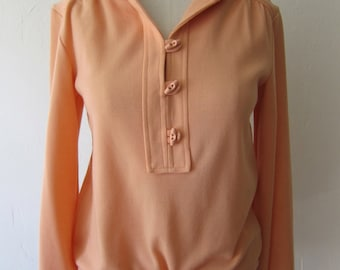 Vintage 70s Top / 1970s Pullover Blouse / Polyester Womens Shirt / Medium M