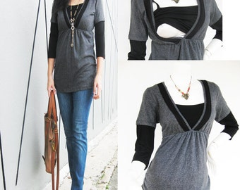 LACEY Maternity Clothing/ Nursing Tops Breastfeeding Shirt/ Nursing Clothes New GREY Shirt Original Design Pregnancy Clothes