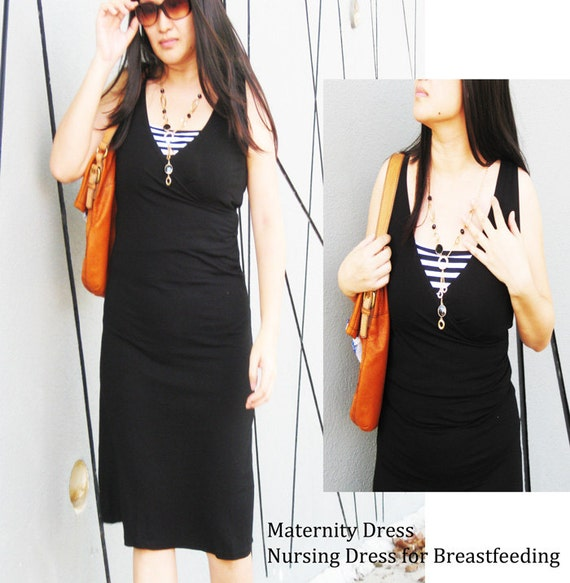 DIANA Maternity Dresses / Nursing Dress / Breastfeeding Dress / NEW Design BLACK Maternity Clothes /Free Shipping