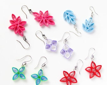 DIY Paper Quilling jewelry tutorial, Paper Quilled flower earrings, jewelry making paper jewelry quilling without tool, instant download PDF