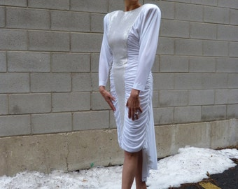 1980s White and Silver Long Dress
