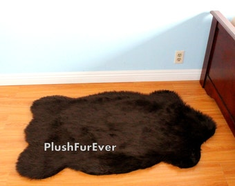 2 X 4 Feet Fluffy Sheep Shape Pelts Faux Fur Rug Flokati