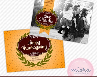 Thanksgiving Photo Card Photoshop Template for Photographer - Photography Marketing Material - INSTANT DOWNLOAD - HC002