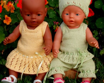 Evelyn Summer Clothes  PDF Knitting Pattern for Doll Clothes to suit 16-17 inch / 40 - 43cm Baby Dolls such as Baby Born