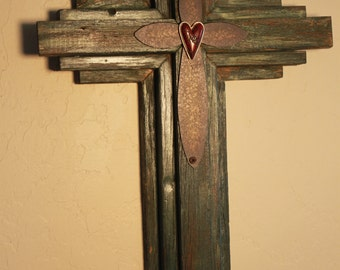 """OKLAHOMA CROSS - Small Wooden Rustic Cross   24"""" tall, green with reddish hints and wood tones"""
