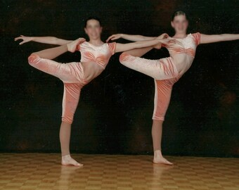 Acrobatic Dance Costume, Pastel Orange Two Piece Costume with Front Pinched Detail, Jazz or Lyrical Costume