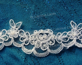 Beaded Scalloped Lace, Bridal Lace, Gentle Flowery wavy Lace, Wedding Trim, Lace with Small Beads and Sequences in Ivory