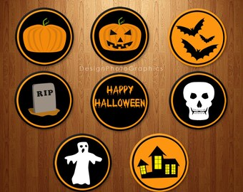 Halloween Cupcake Toppers Set of 8