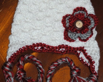 Football Team Color Inspired Earflap Flower Hat