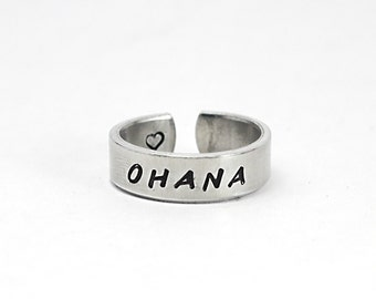 Ohana Family Ring, Stamped Aluminum Hawaiian Word  Ring, Family Jewelry, Love, Father mother, Brothers Sisters 8-1