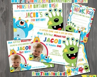 Monster Birthday Party Invitation, Monster Birthday, First Birthday Party, 1st birthday bash, Printable Party Invitation Free Thank You Card