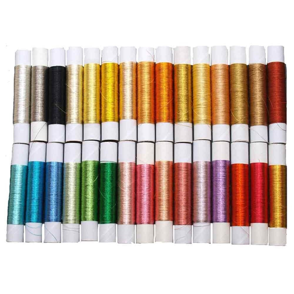 Colored Silver/Gold Metallic Thread 30 Glossy Colors Set