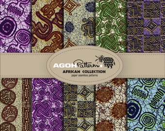 AFRICAN Seamless Patterns pack of 10  - Africa -  digital paper scrapbook - print