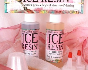 ICE Resin Jewelers Grade Crystal Clear Casting Epoxy Resin 8 oz Kit Self Doming Cures at Room Temperature - No UV lamp needed SU42