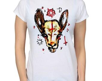 Satan Goat Pentagram Cross White T-Shirt