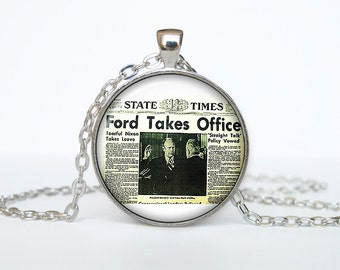 Old newspaper necklace Vintage newspaper pendant newspaper jewelry
