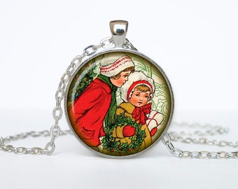 Victorian Christmas Kids Jewelry Christmas Necklace Christmas Gifts New Year Pendant Christmas Jewelry, Xmax Necklace, Xmas Pendant