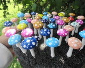 beautiful set of 12 handmade terrarium button top mushrooms 1 1/2 inches to 2 inches tall indoor outdoor planter fairy garden patio