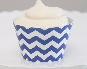 INSTANT DOWNLOAD – Printable Blue Chevron Cupcake Wrapper – Printable Cupcake Wrappers
