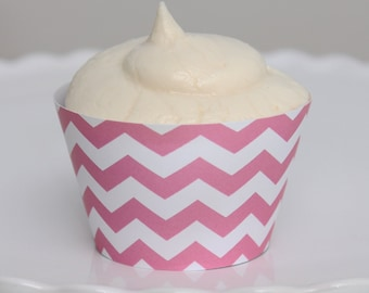 INSTANT DOWNLOAD – Printable Pink Chevron Cupcake Wrapper – Printable Cupcake Wrappers