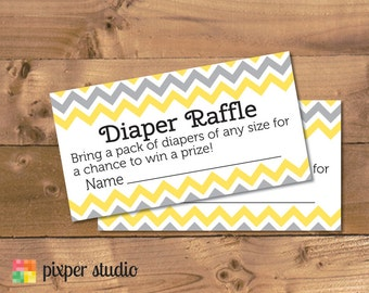 INSTANT DOWNLOAD - Diaper Raffle - Yellow and Grey Chevron Baby Shower