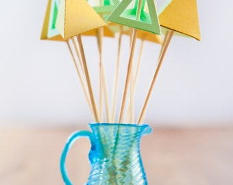 Geometric Drink Stirrers - Colorful Triangle Shapes