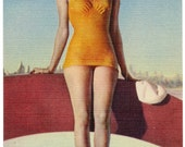 Vintage Linen Postcard - Bathing Beauty Pin Up 1940s Orange Bathing Suit