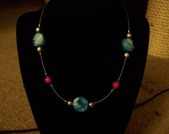 Pink and Cloudy Blue Beaded Choker Necklace