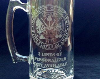 Military Glass Mug - Personalized Laser Etched Name and Military Seal (Navy, Army, Marines & Air Force) (Beer Mug Stein)