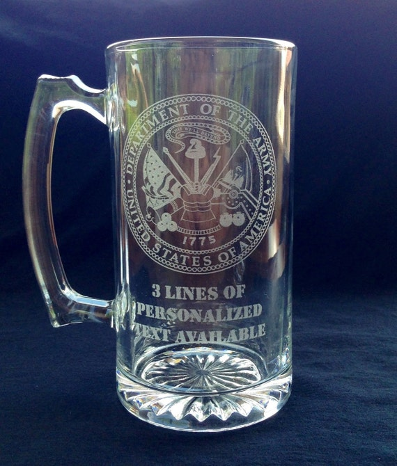 Military Glass Mug Personalized Laser Etched Name And