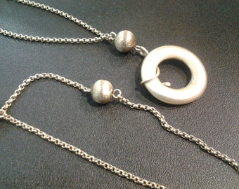 sterling silver, long chain and pendant