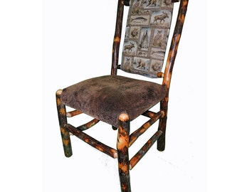 Rustic Hickory Upholstered Seat and Back Dining Chair with Winter Woodlands Fabric
