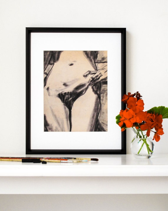 """Vintage Nude Female Figure Drawing Print, Original Charcoal Drawing, Giclee, Feminist Art, Distressed Art, 1970's, 8"""" X 10"""" - """"Deal With It"""""""