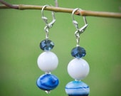 Earrings designed and made from natural gemstones. Blue and white dangle earrings.