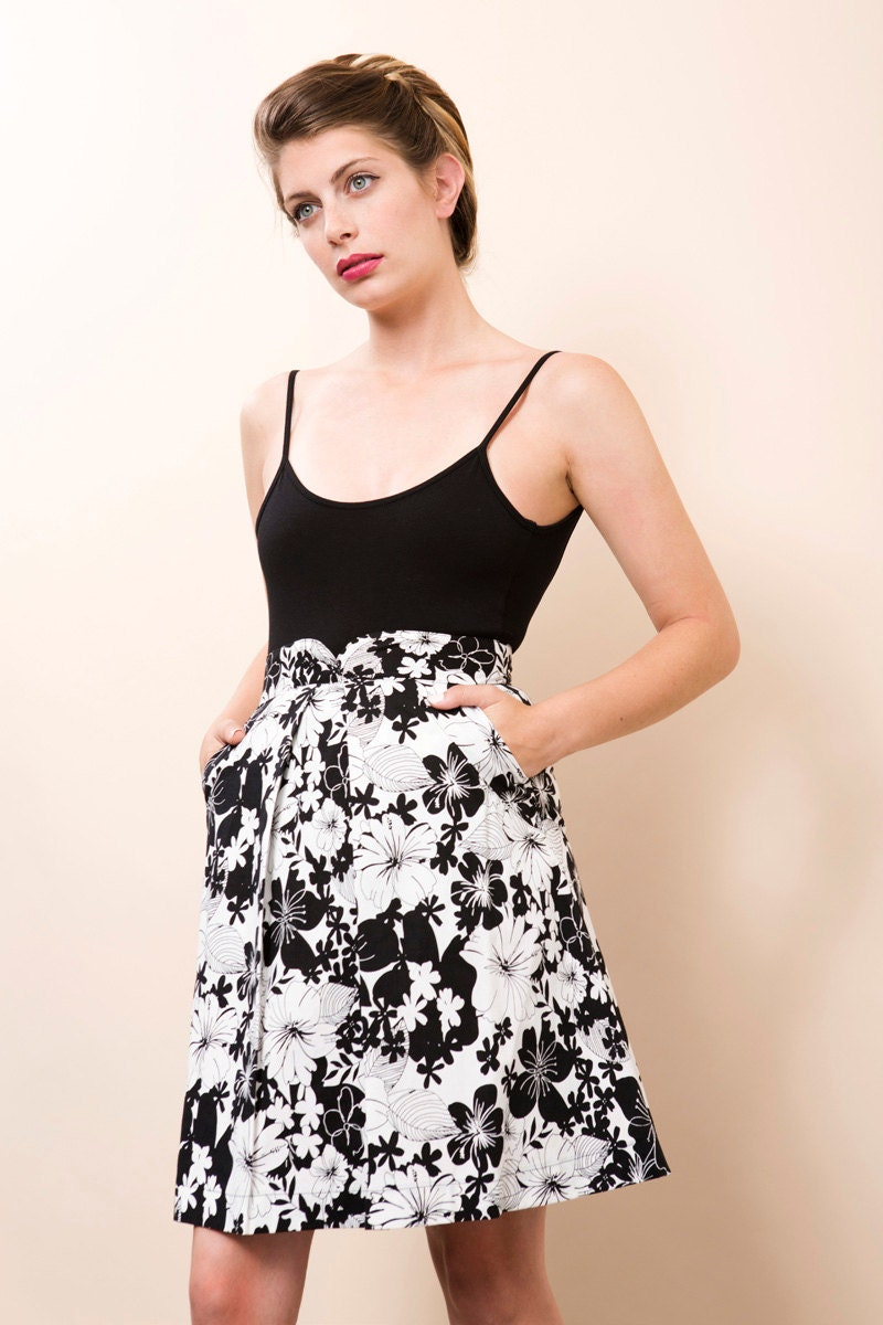 high waisted skirt black and white floral skirt by