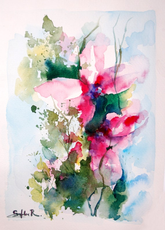 Abstract Watercolor Painting Passionate Ensemble Original