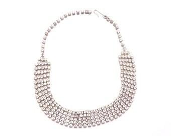 Vintage Rhinestone Choker Necklace, Bridal Necklace, Wedding Accessory