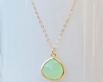 Mint Teardrop Pendant Necklace