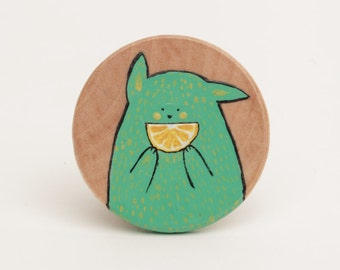 Smile Lime brooch - illustrated wooden brooch
