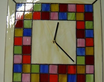 Mosaic White Tiffany Style  Stained Glass Clock